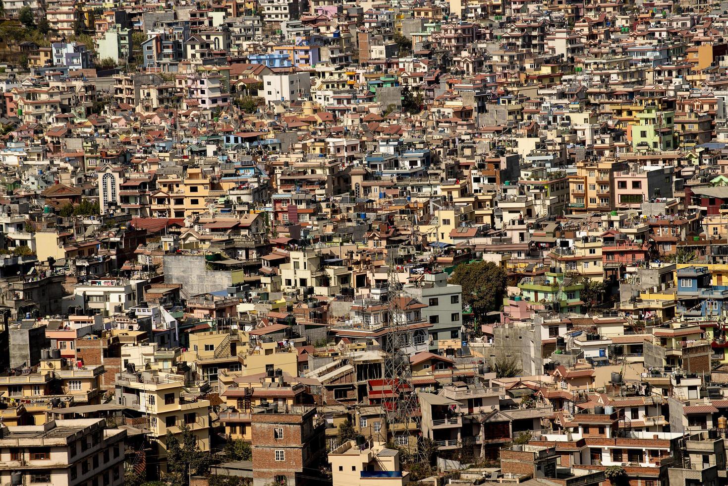 Crowded city scene photo