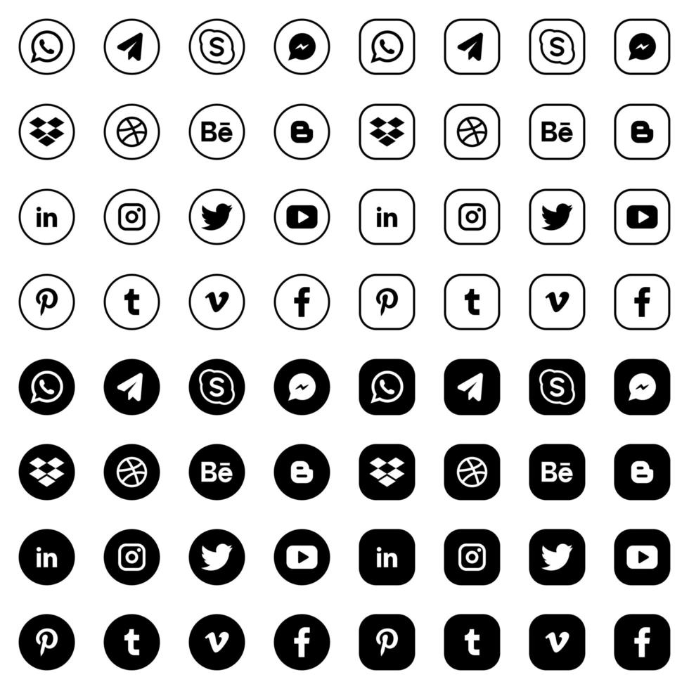 Black and white round social media logo collection vector