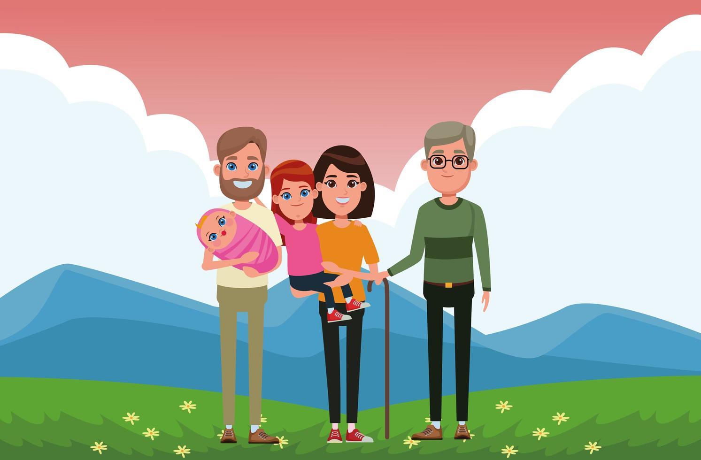 retrato de familia al aire libre vector