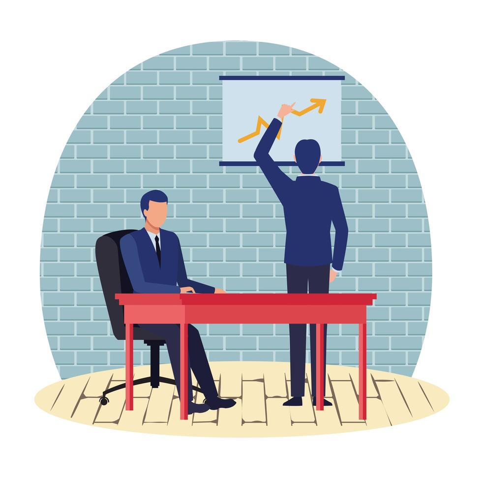 Business cartoon chracters working and looking at chart vector