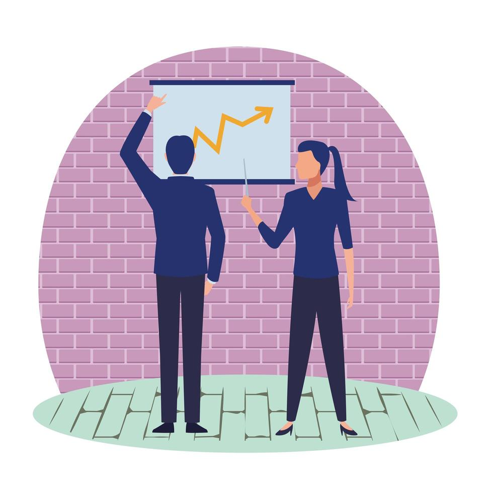 Business people cartoon characters looking at chart vector