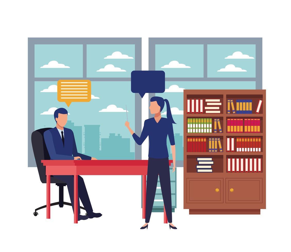 Business people talking in meeting vector