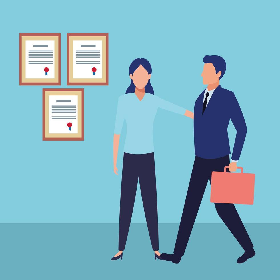 Business people in office with certificates on wall vector
