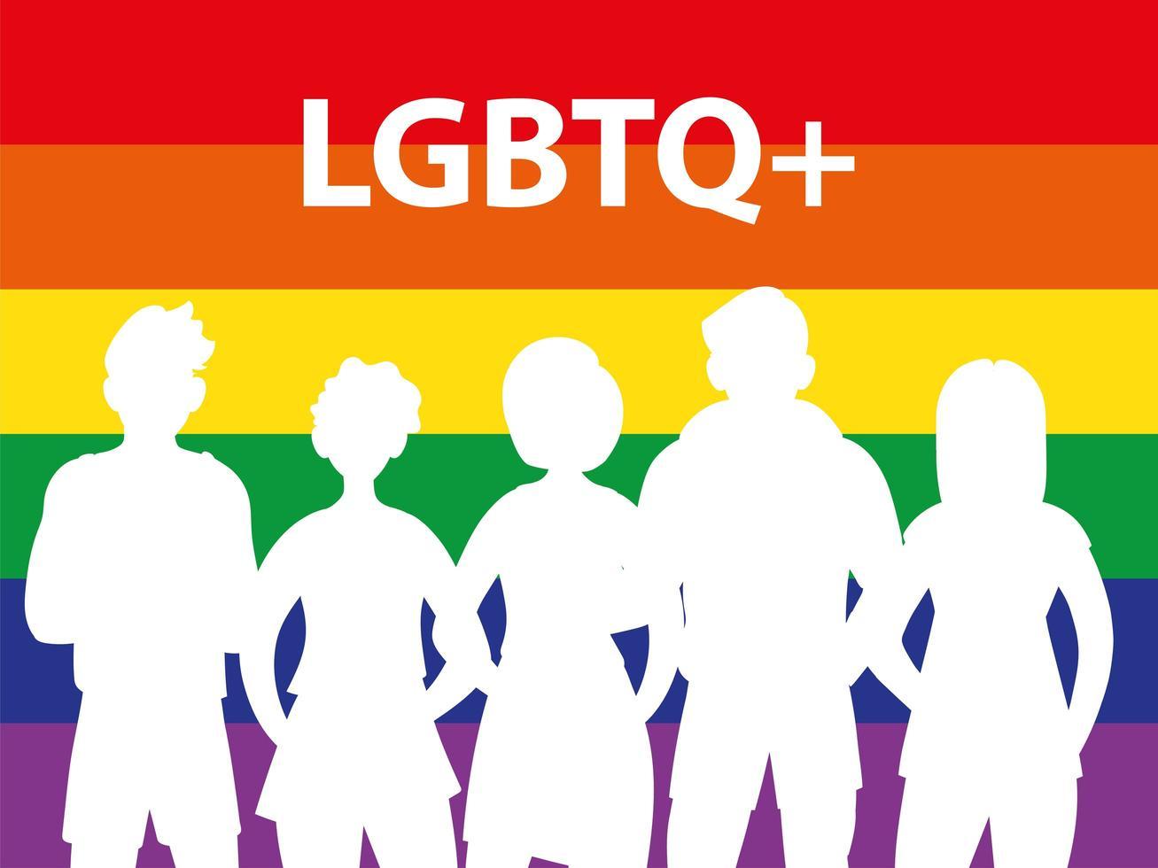 silueta de personas con fondo de arco iris vector