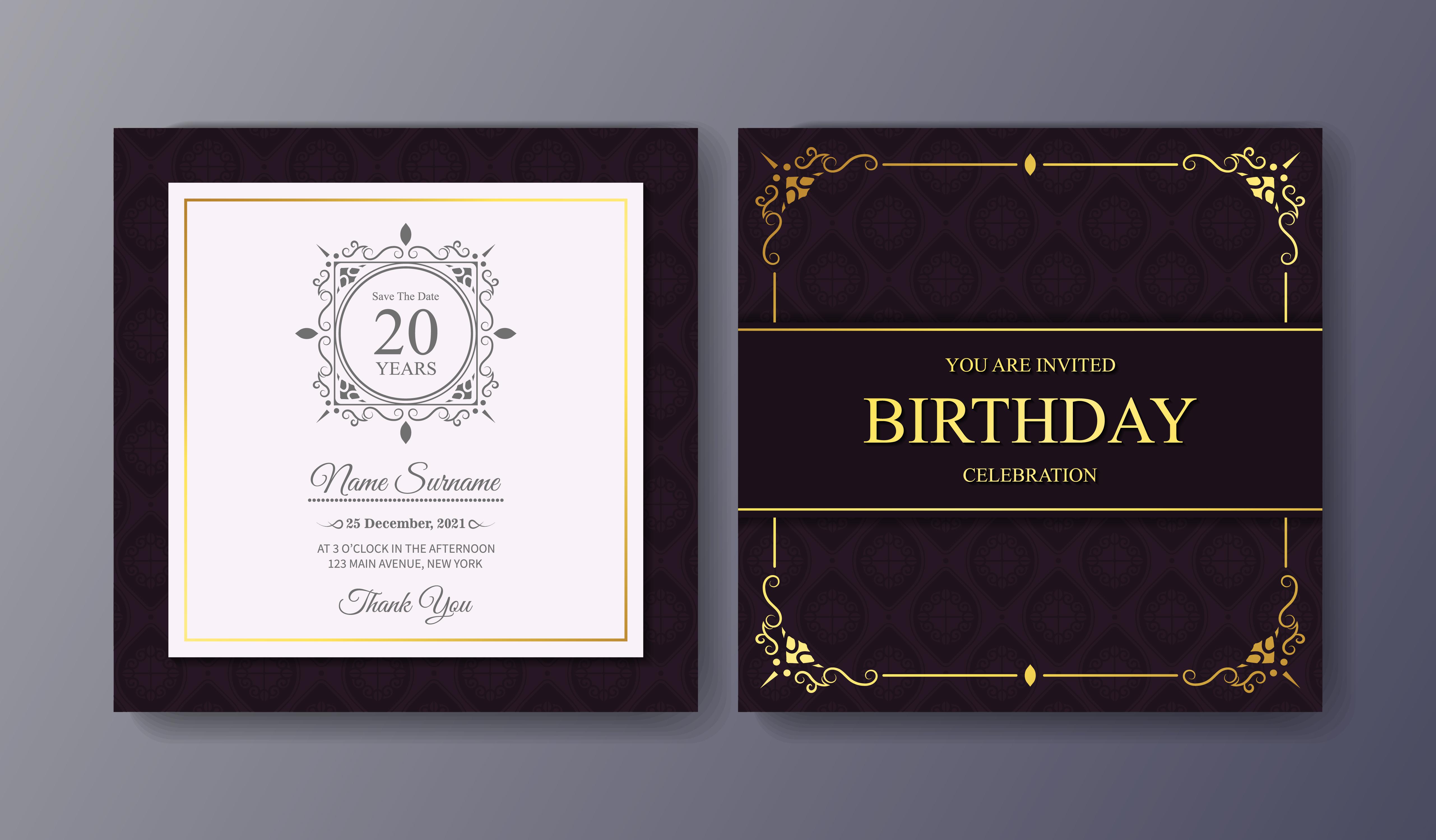 Elegant purple birthday invitation template - Download Free Vectors