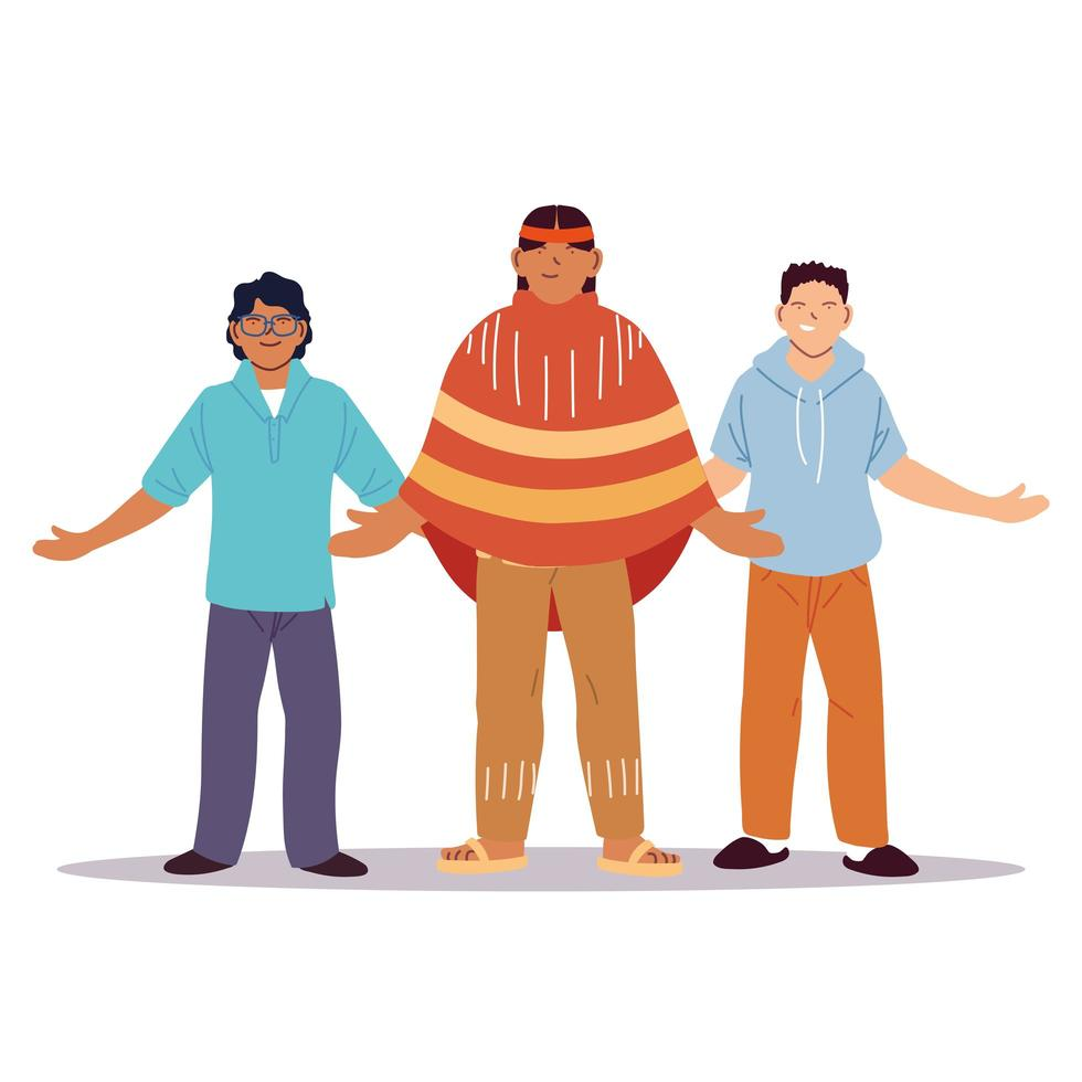 Multiethnic group of people standing together vector