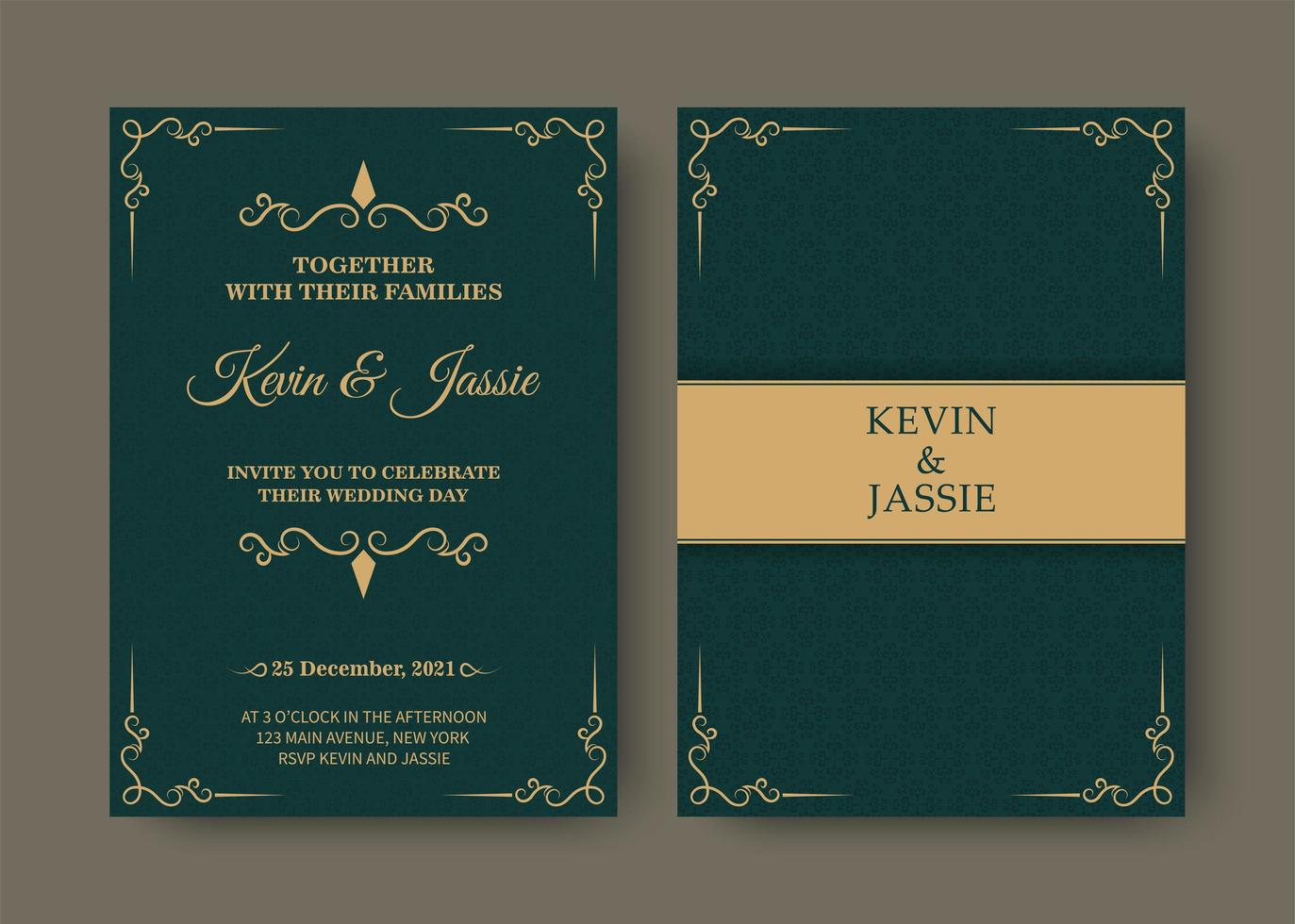 Invitation Card Design In Green And Gold Vintage Style Download Free Vectors Clipart Graphics Vector Art