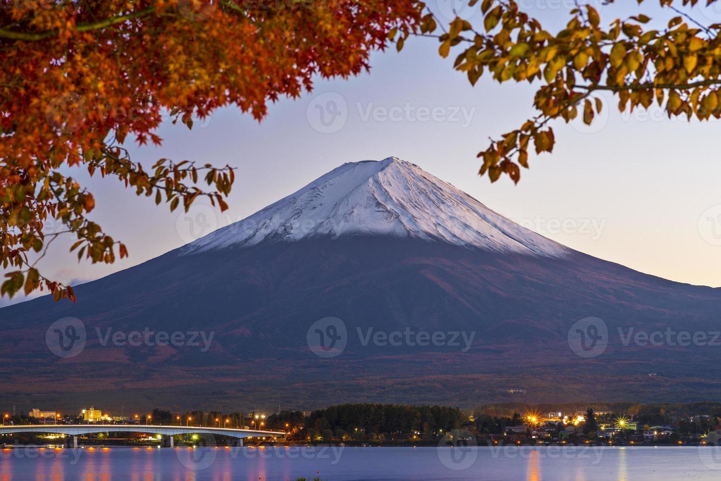 Wide shot of Mount Fuji at dawn photo