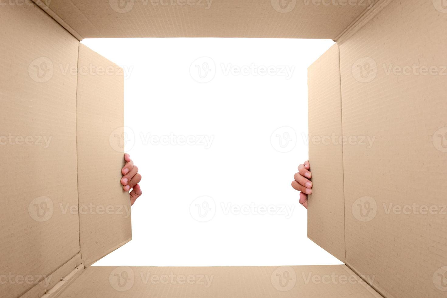 hand open cardboard box photo