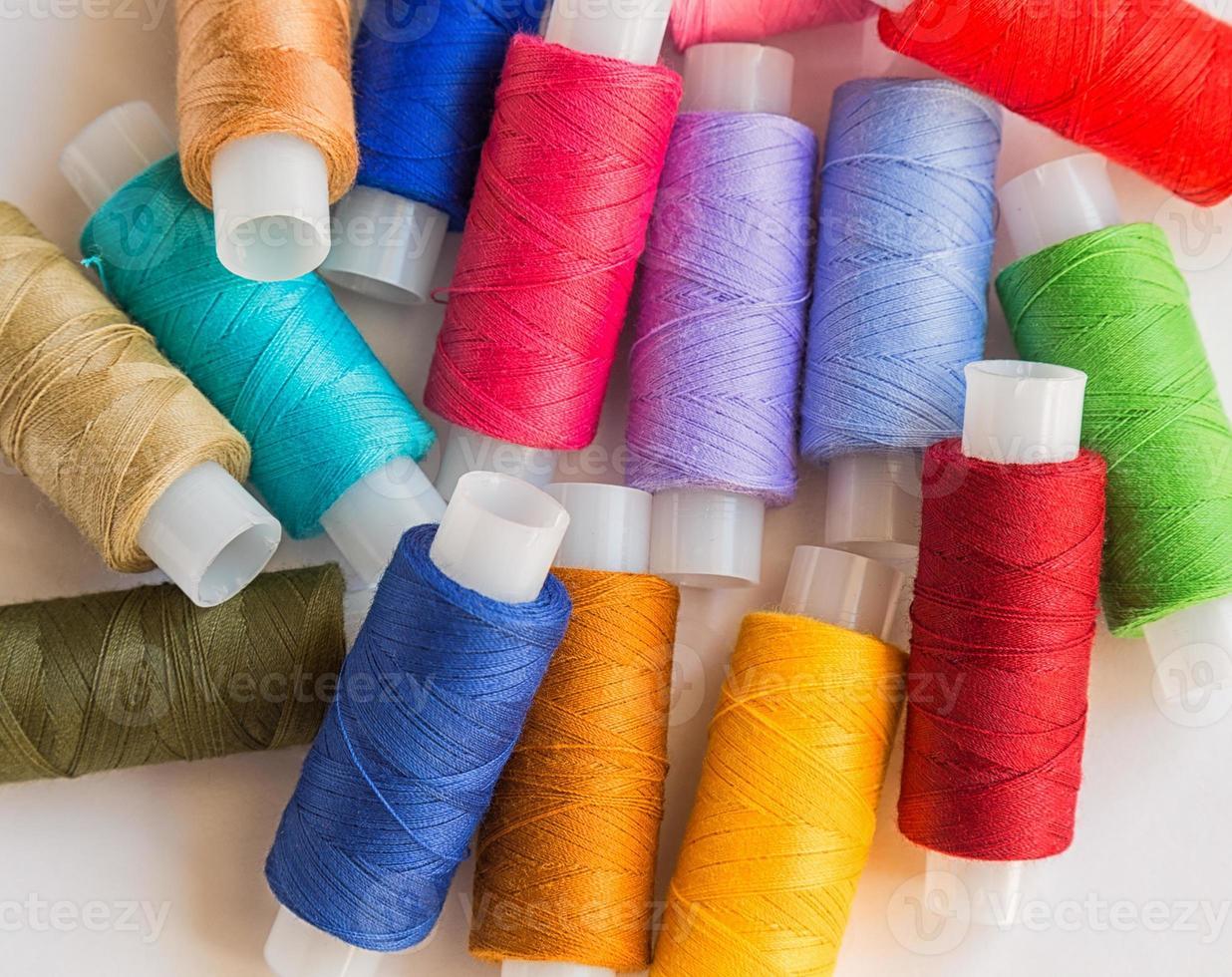 Spools of colorful thread photo
