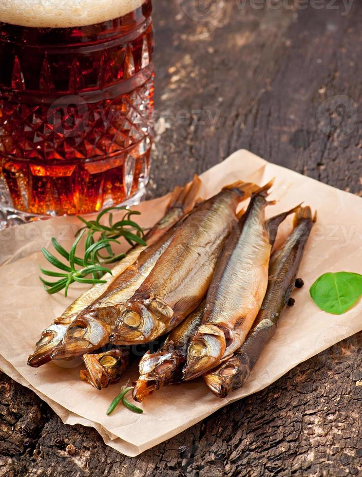 smoked fish with beer photo