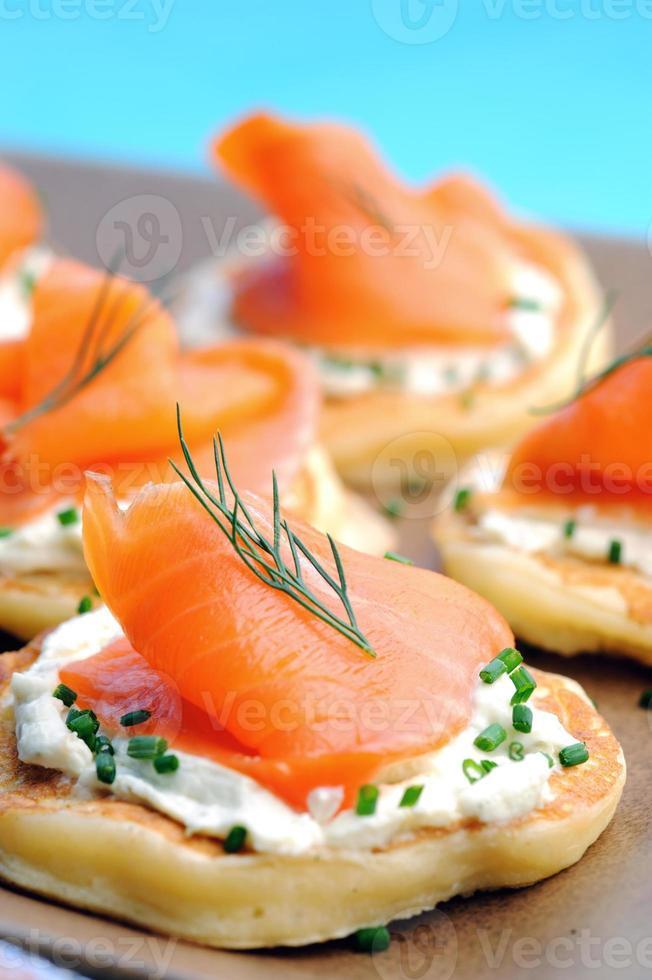 Smoked salmon canapes photo