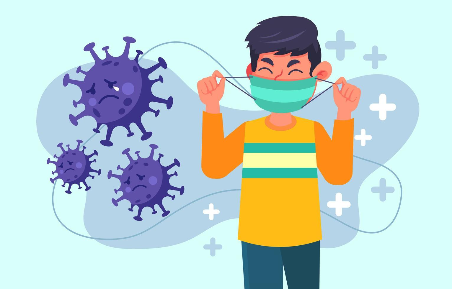 Avoid Virus by Using Mask to Protect Us vector