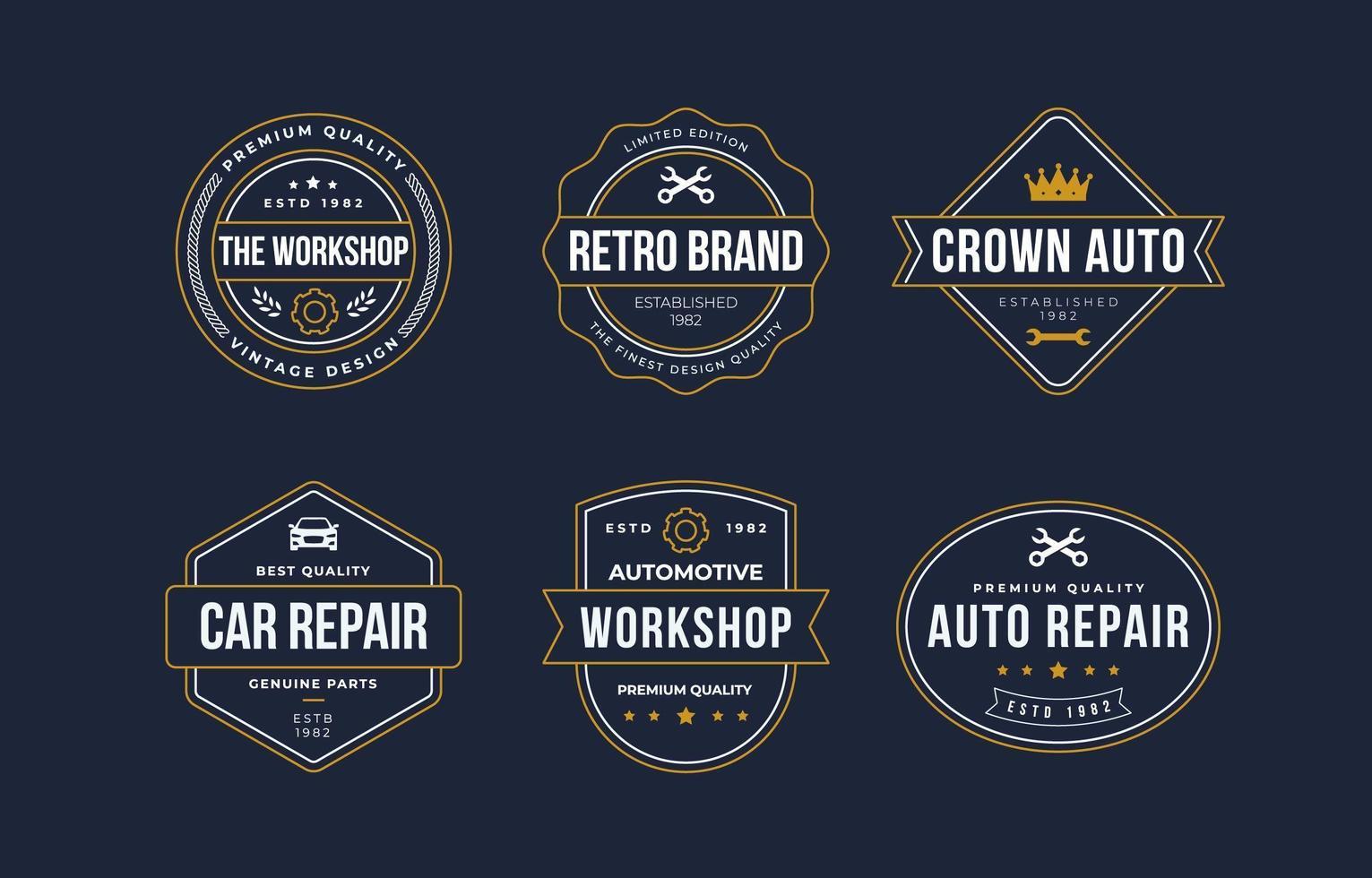 colección de logos vintage auto mobile vector