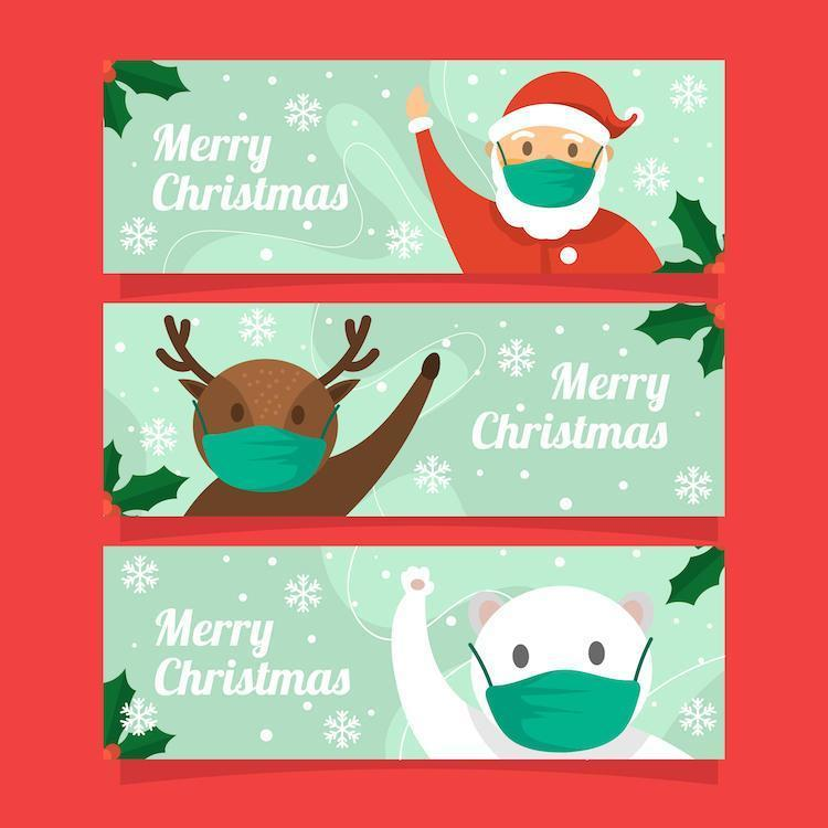 Cute Christmas Banner Collection with New Normal Protocol vector