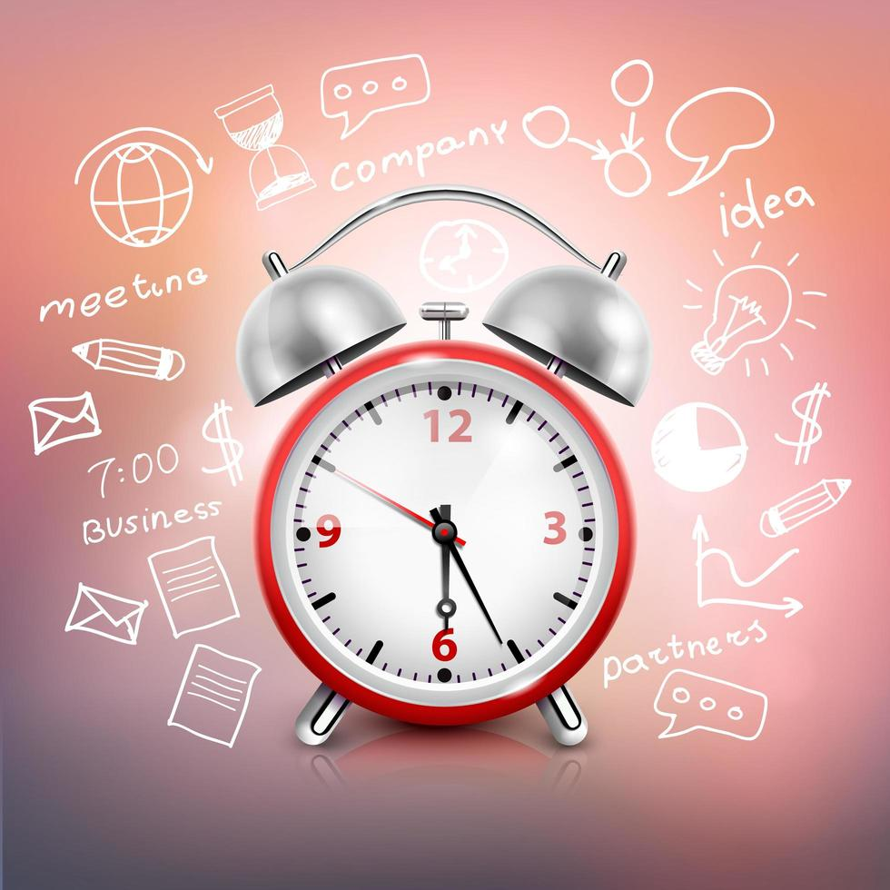 Business strategy with realistic alarm clock vector