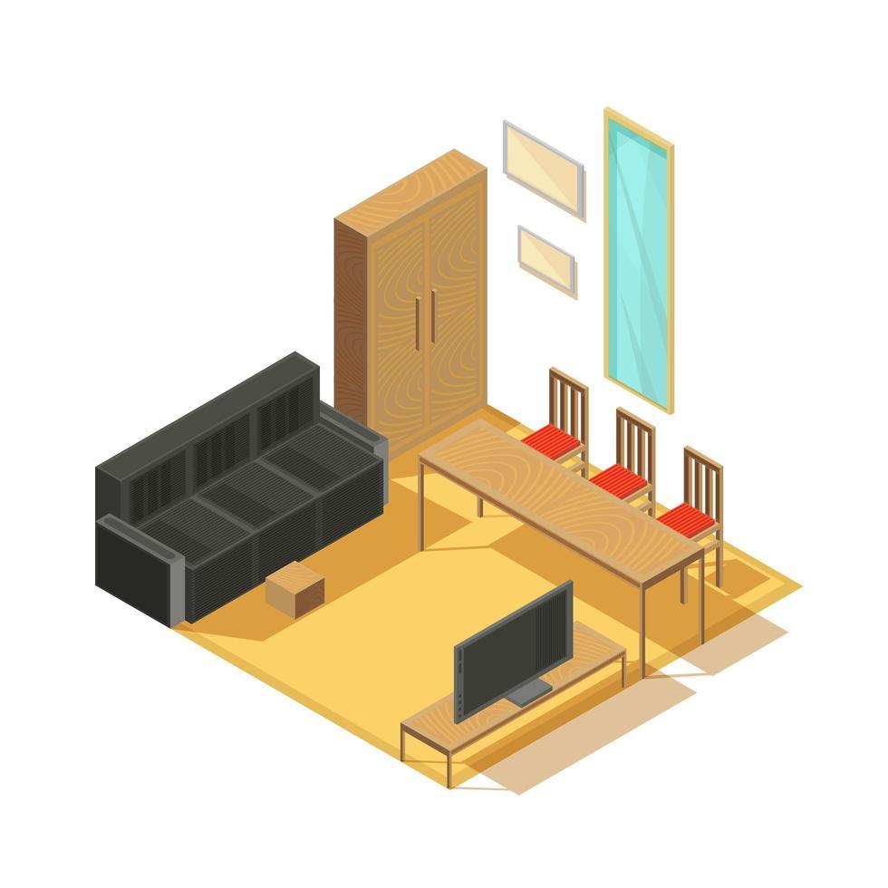 interior de la habitación isométrica vector