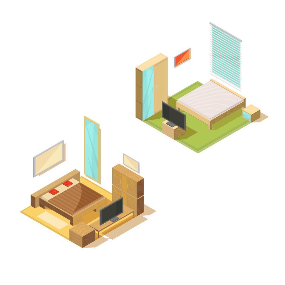 conjunto interior de dormitorio isométrico vector