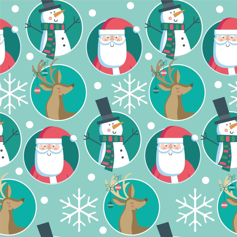 Navidad de patrones sin fisuras con copos de nieve, santa, ciervo, muñeco de nieve vector