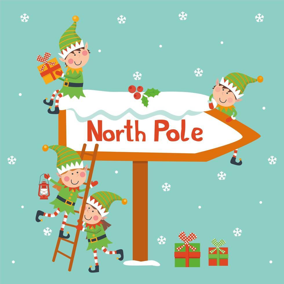 tarjeta de navidad vintage con lindo santa claus y elfos vector