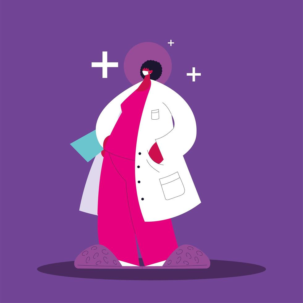 Female doctor standing. Medical staff vector