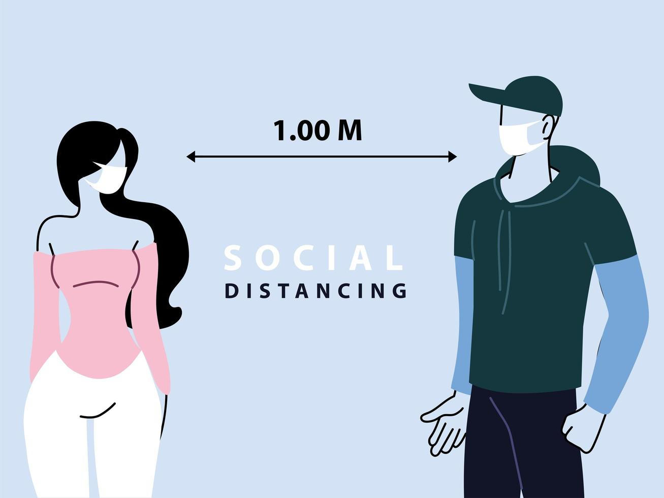 Social distancing between two people vector