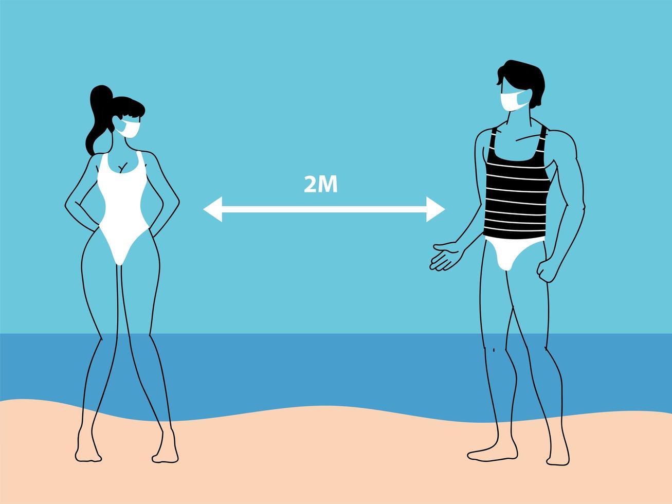 un par de personas en la playa mantienen la distancia social vector