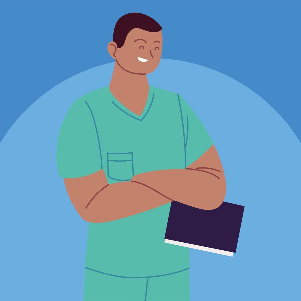 retrato, de, enfermero, en, uniforme vector