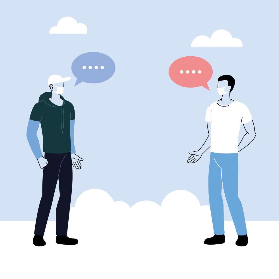 Men talk with distance to prevent coronavirus vector