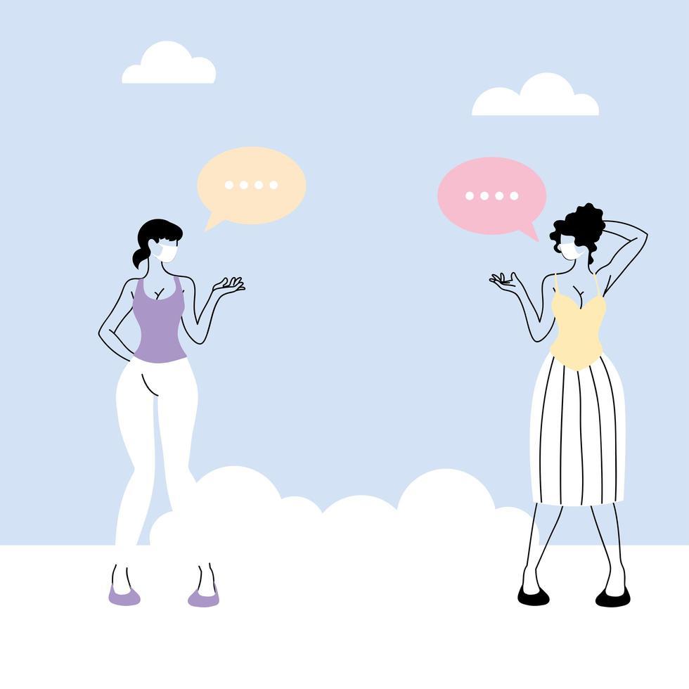 las mujeres hablan con distancia para prevenir el coronavirus vector