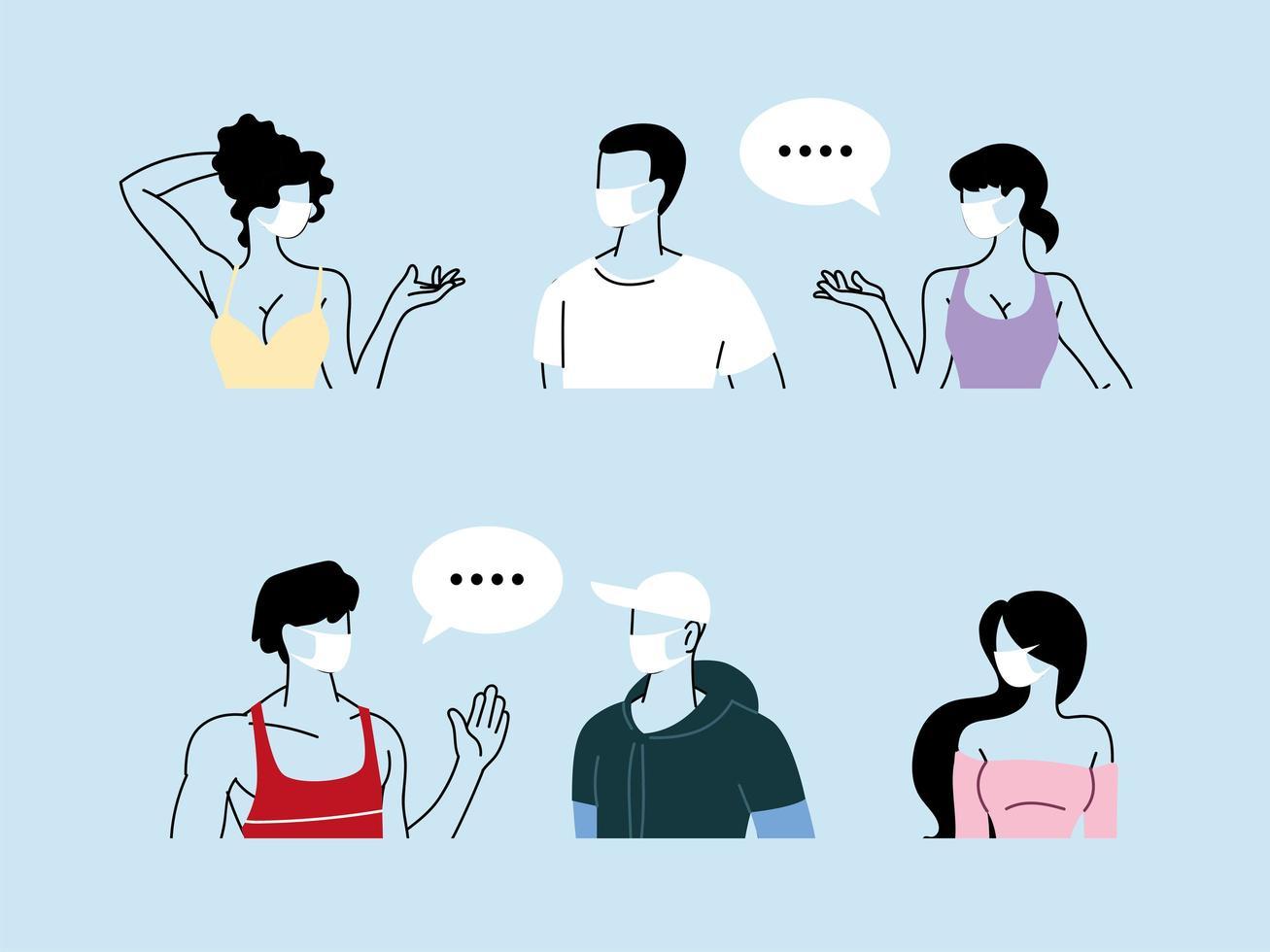 personas hablando con distancia para prevenir el coronavirus vector