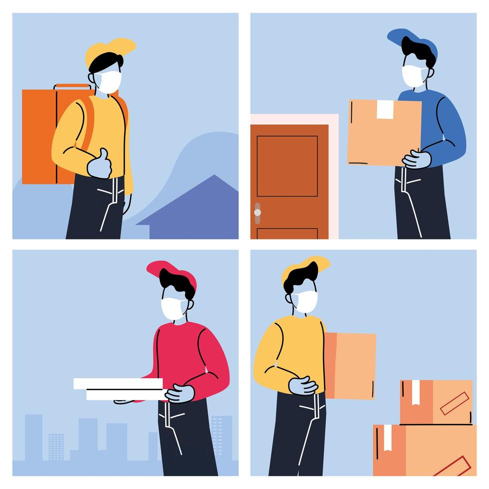 Couriers with masks delivering products to the door vector