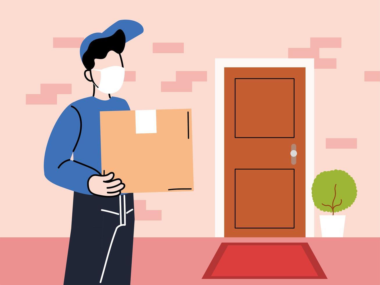mensajero con máscara entrega mercancías a la puerta vector