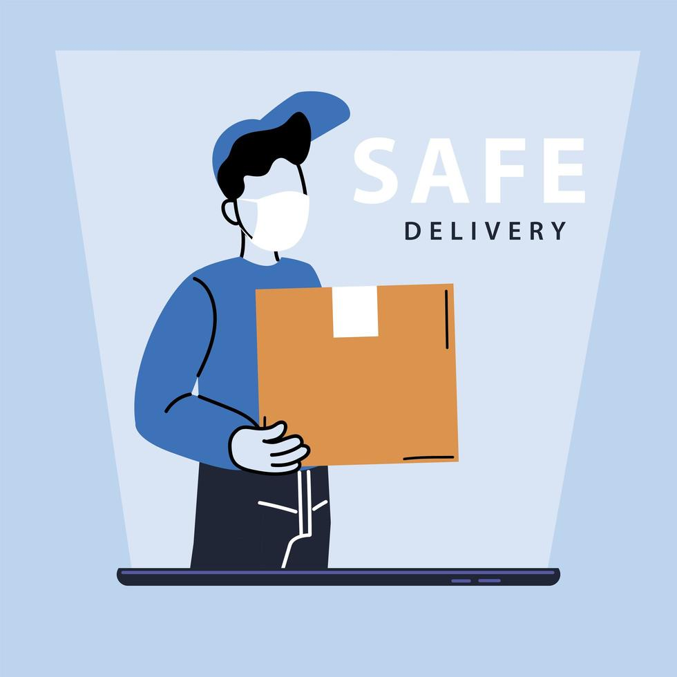 Courier man with mask delivers boxes vector