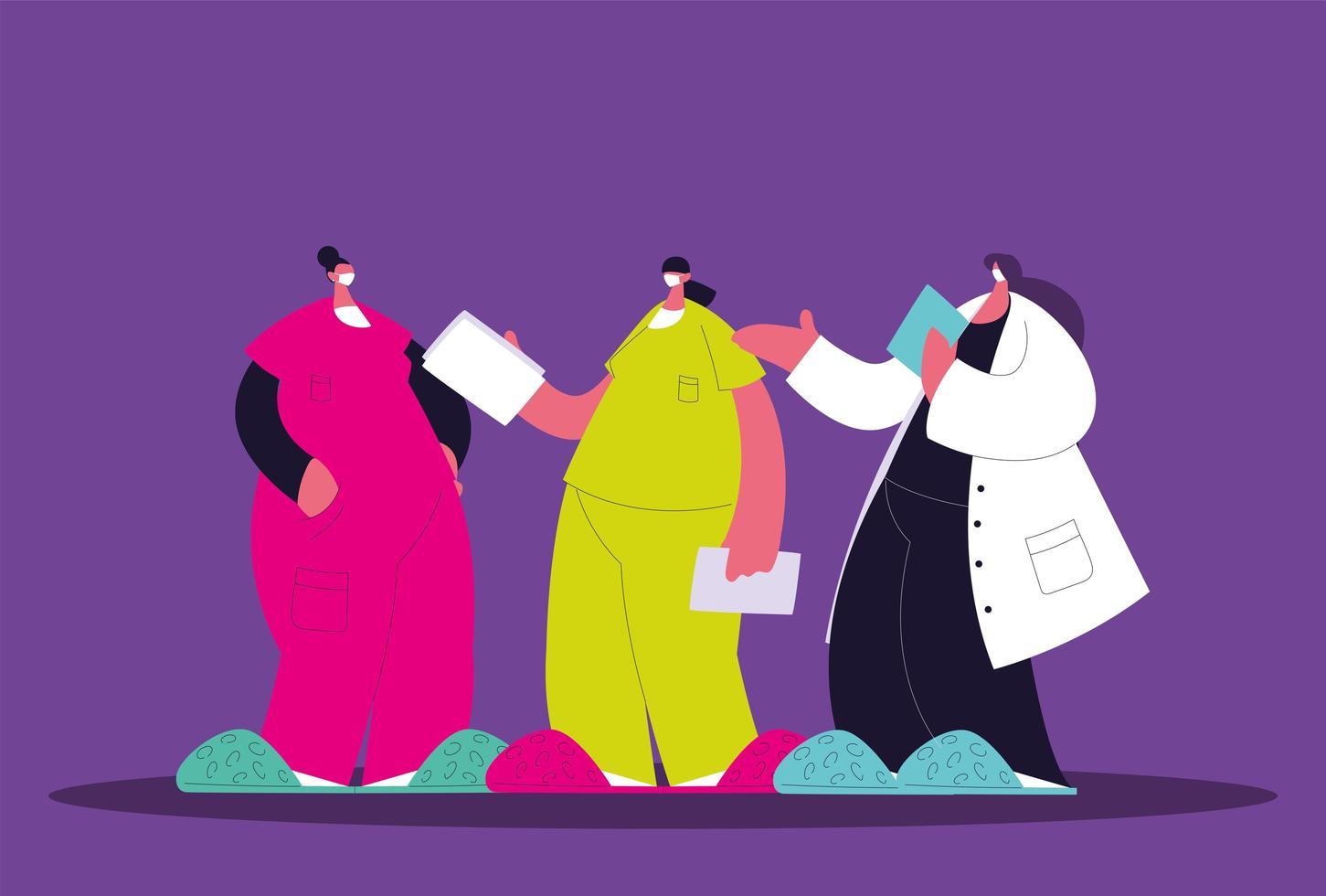 Female doctors standing. Medical team vector
