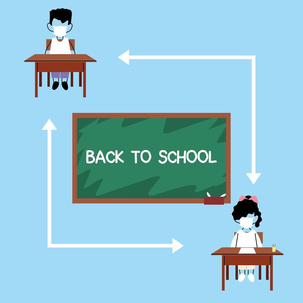 School kids keeping distance vector