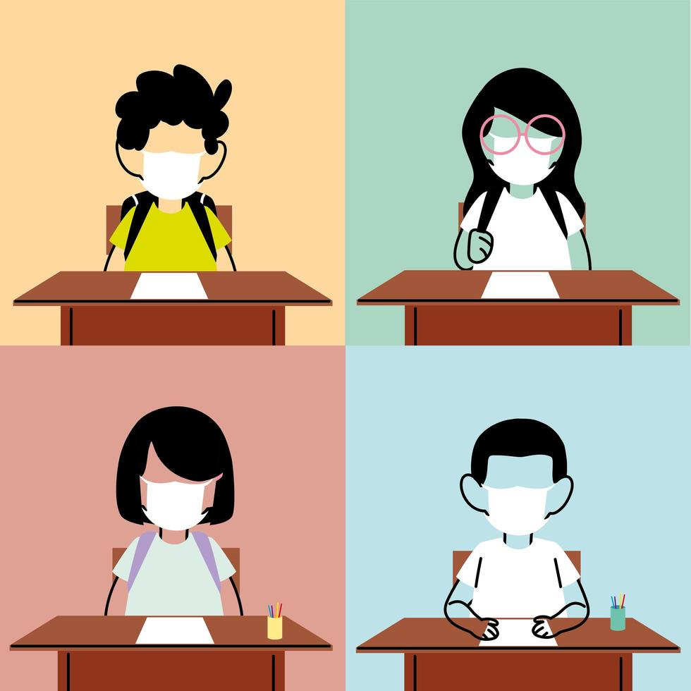 Kids with face mask in the classroom vector