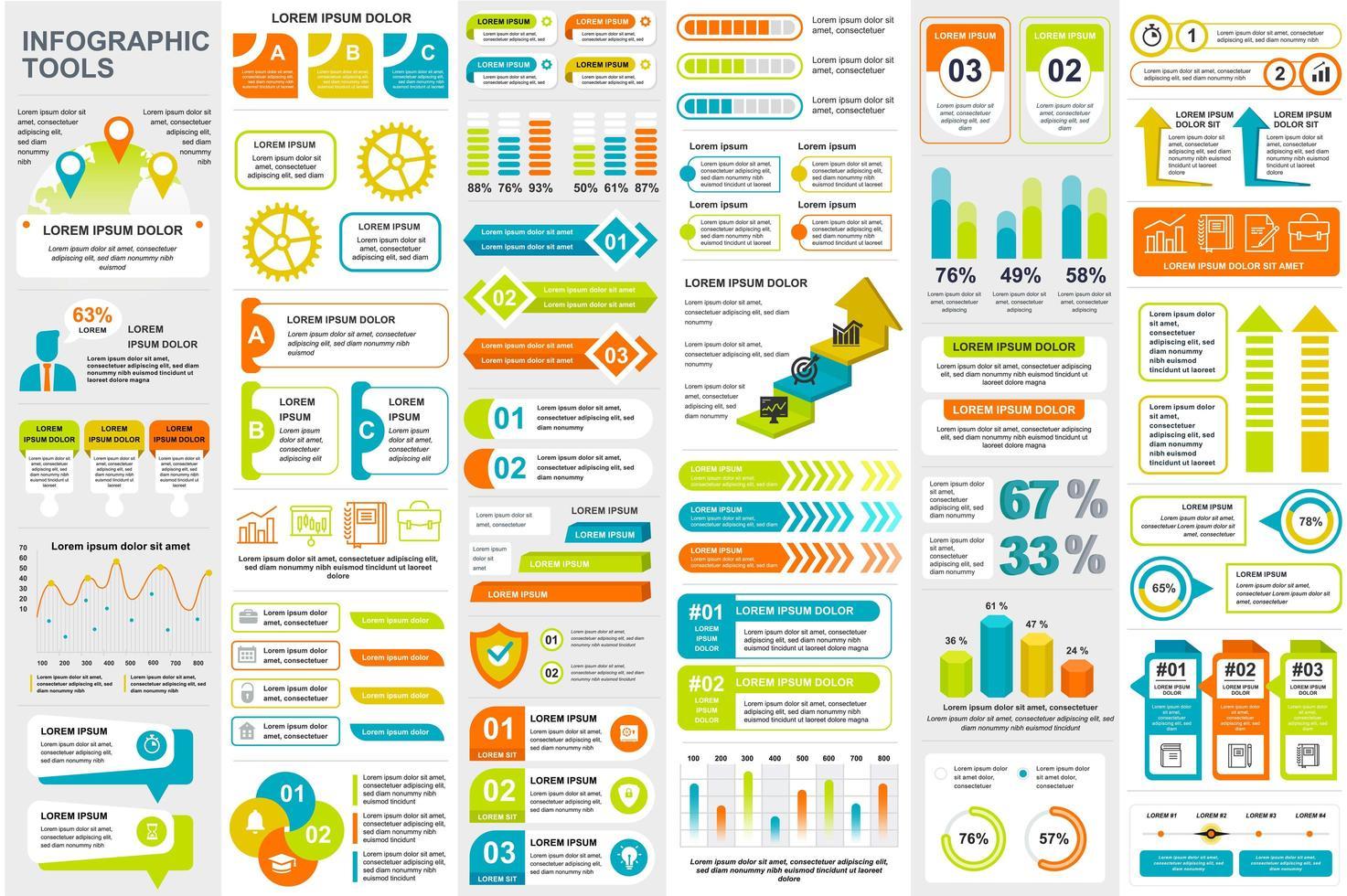 Colorful infographic elements data visualization bundle vector