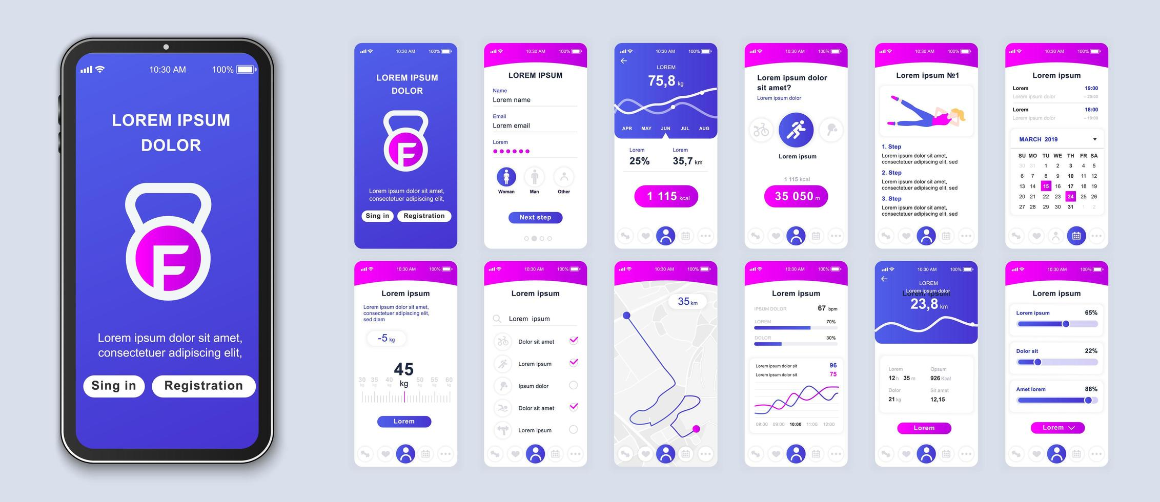 Purple and pink gradient fitness UI application smartphone interface vector