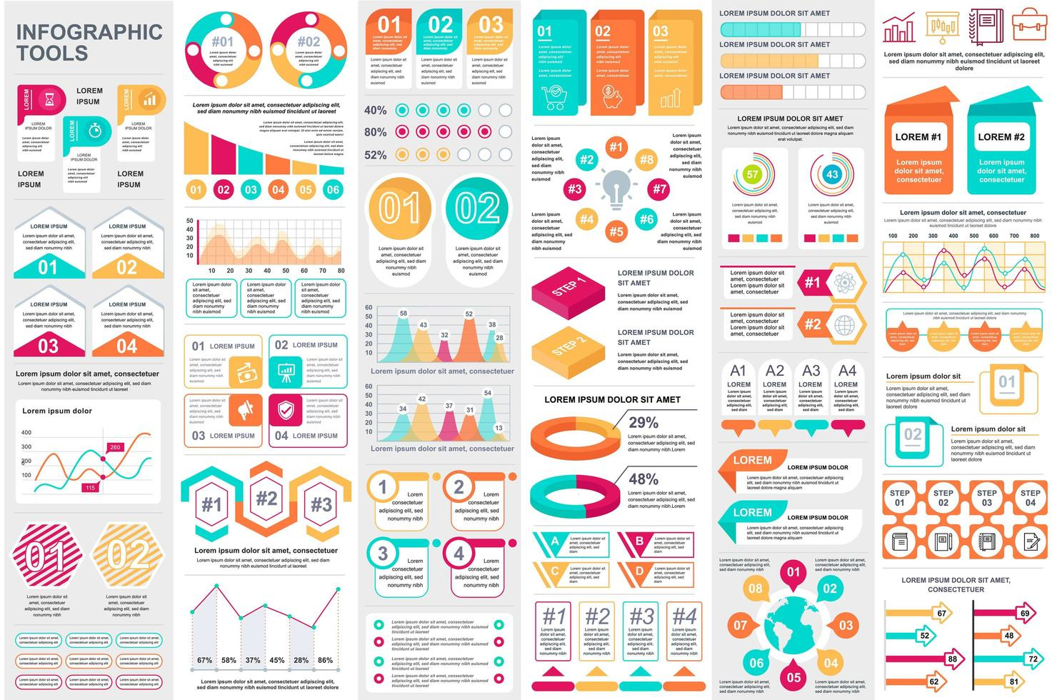 colorido paquete de visualización de datos de elementos infográficos vector