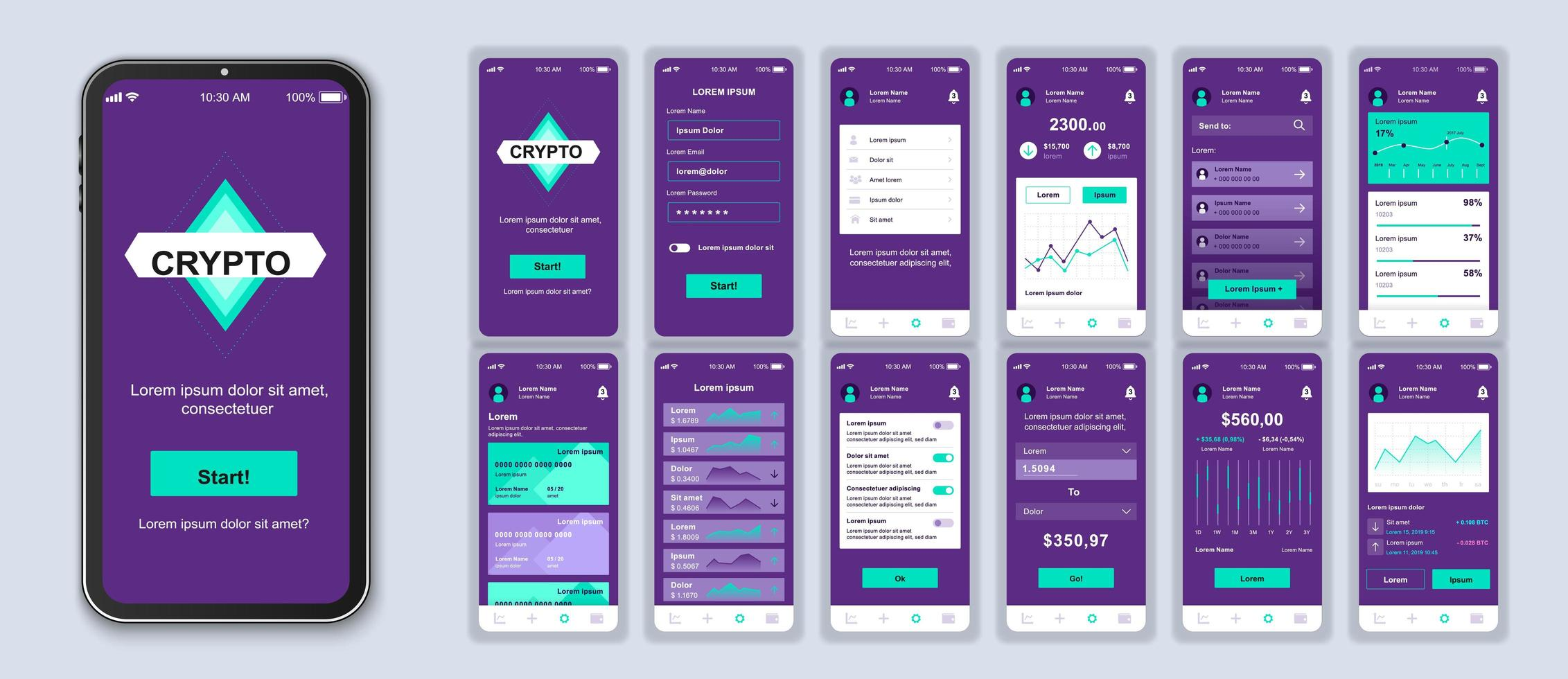 Purple and green cryptocurrency UI smartphone interface vector