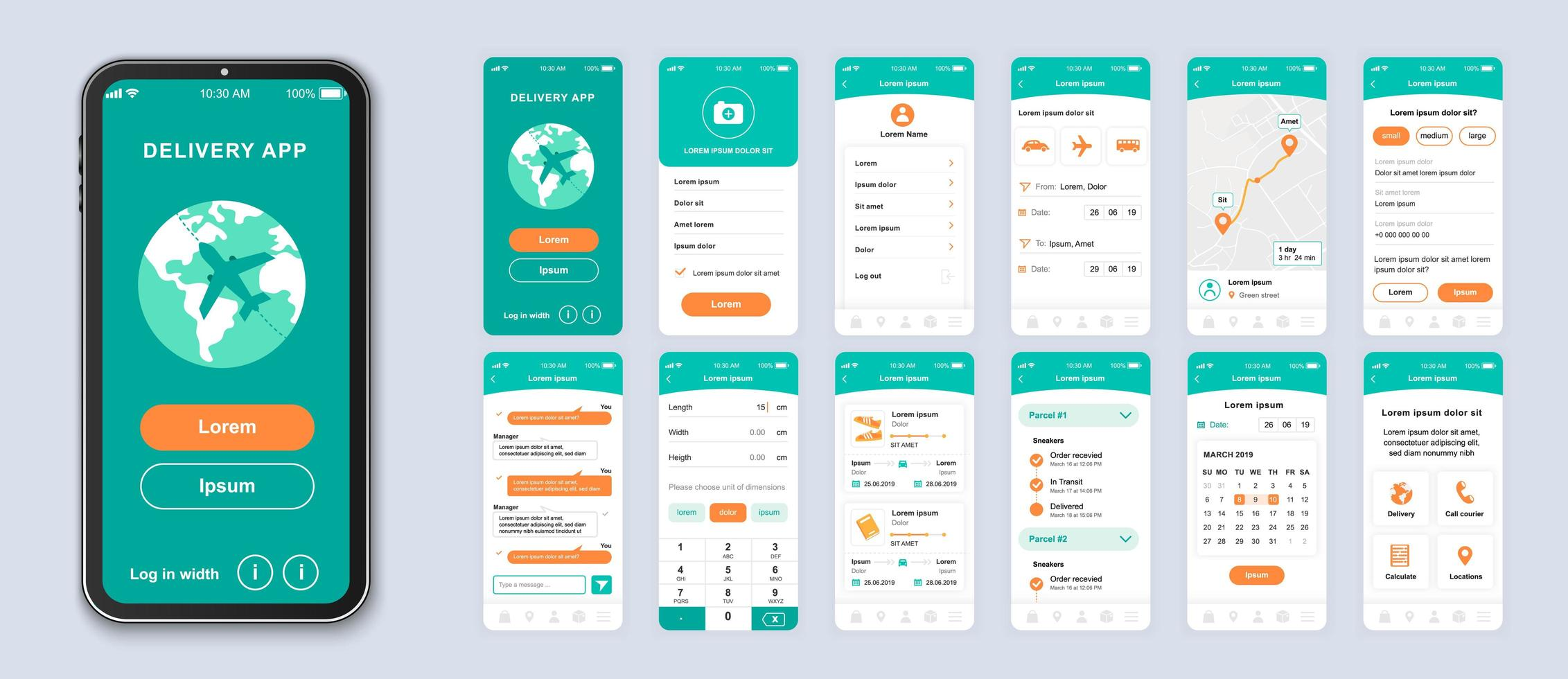 Green and orange delivery UI smartphone interface vector