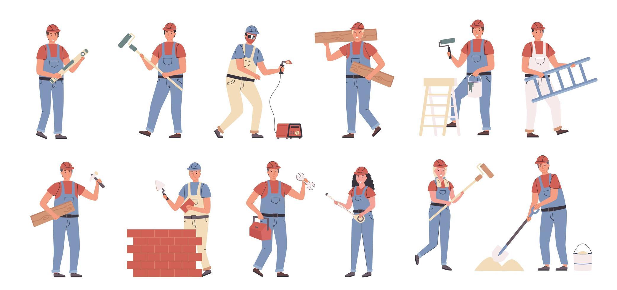 Builders and repair masters flat character set vector