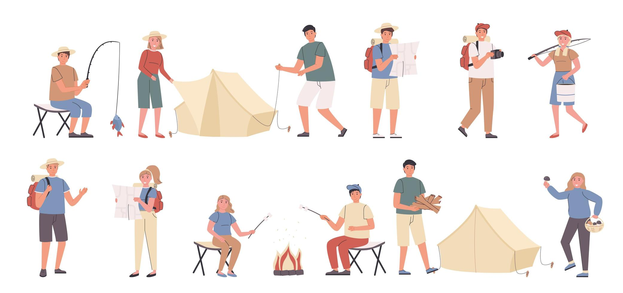 Camping trip, nature leisure, eco friendly flat character set vector