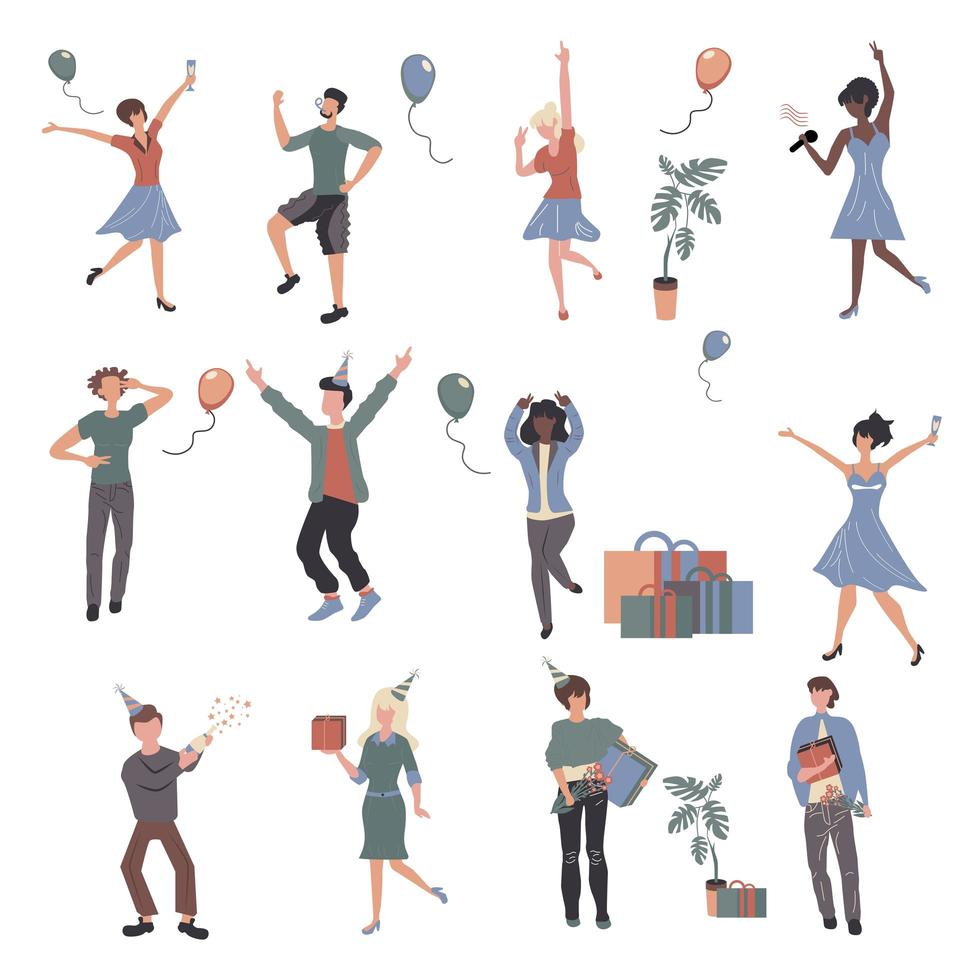 Cheerful people at party cartoon characters set vector