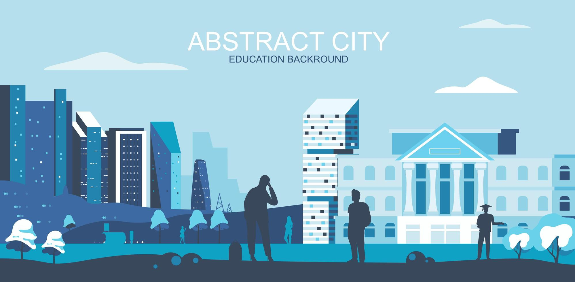University, college campus with students in blue tones vector