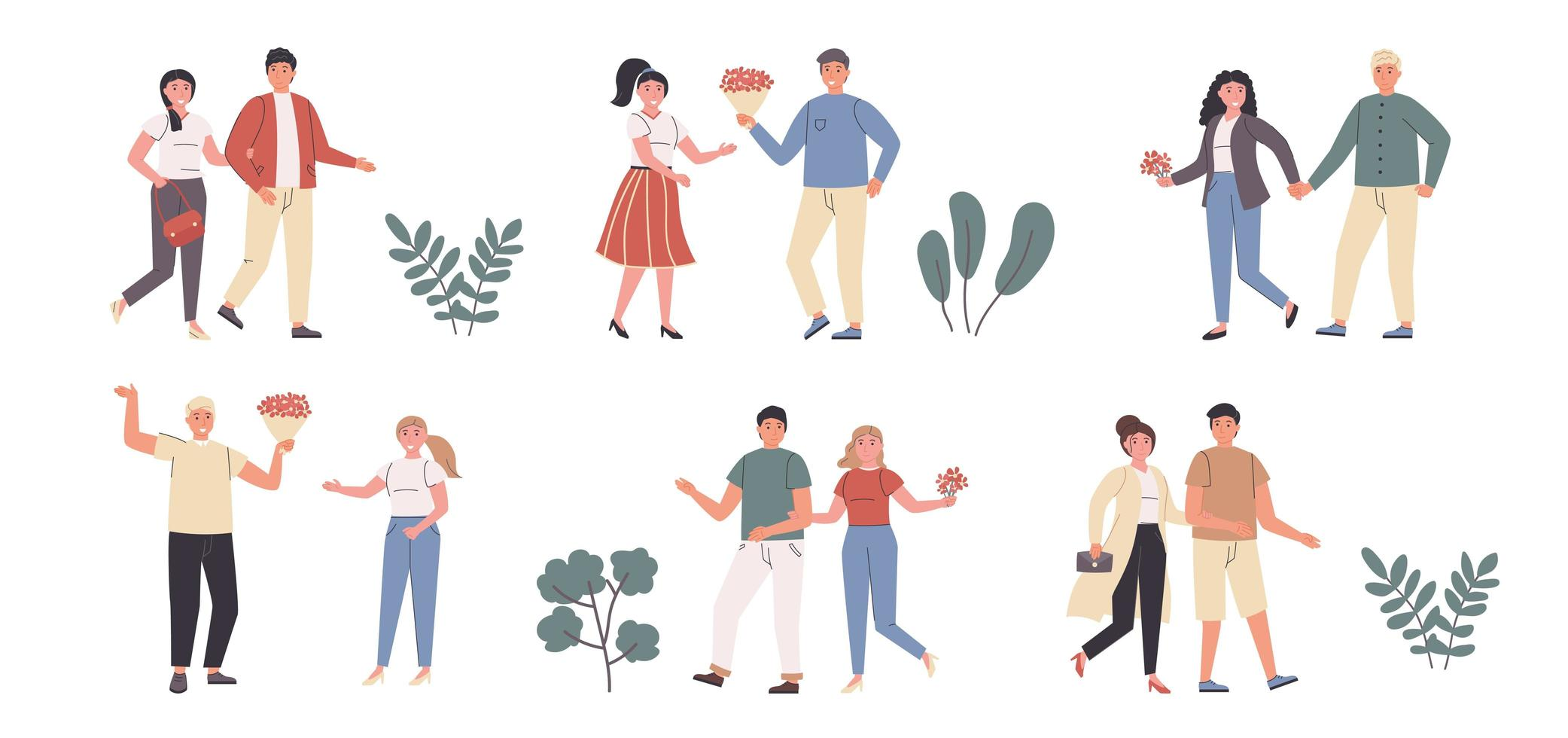Enamored couples, wedded pairs flat character set vector