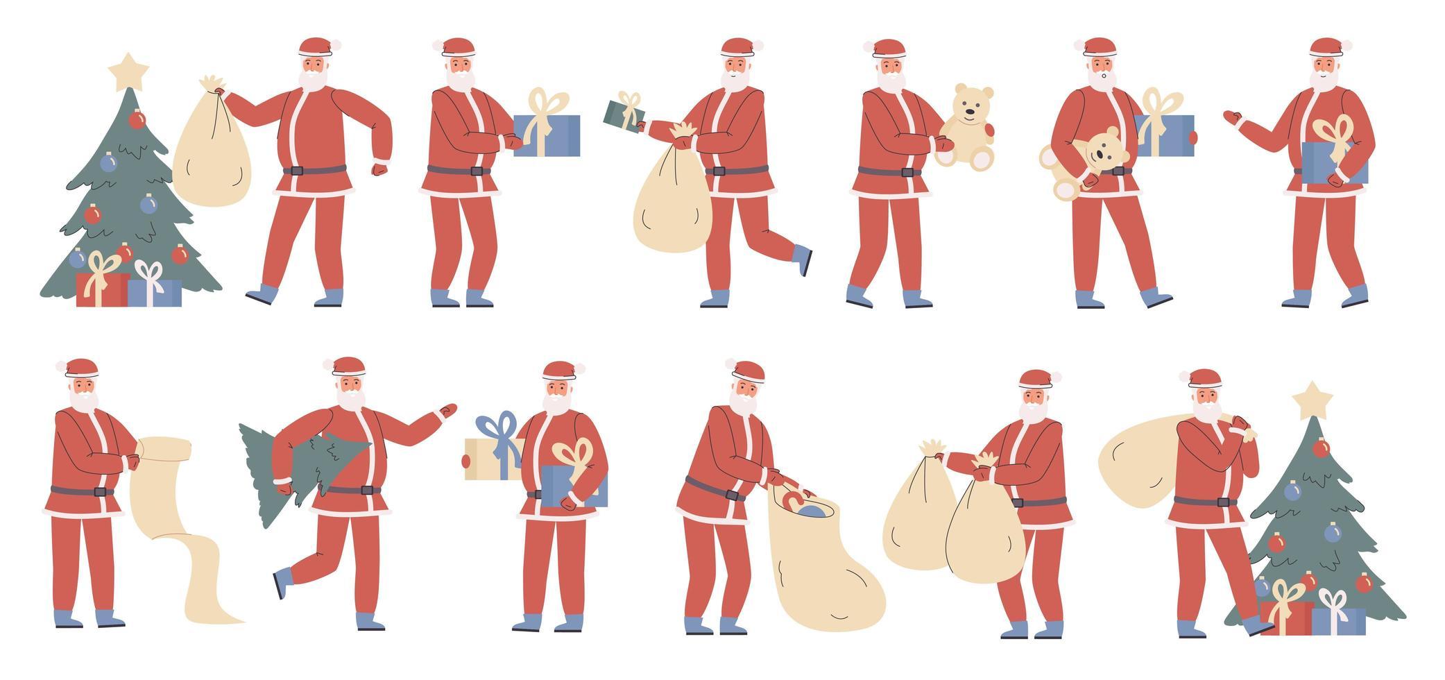Santa Claus with Christmas gifts flat character set vector