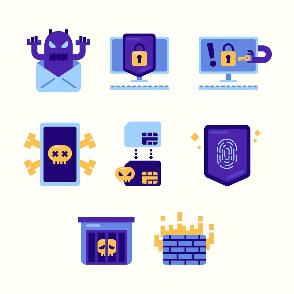 Cyber Security Day Icon Set vector