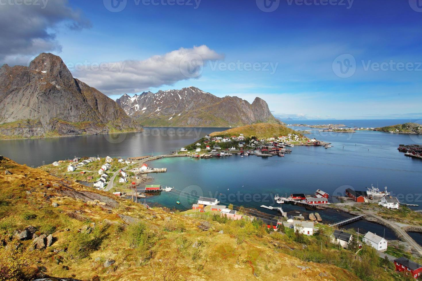 Reine by fjord on Lofoten islands in Norway photo